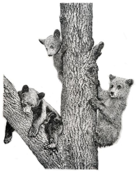 contemporary commission of three bear cubs in nails, by International artist