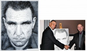 Vinnie Jones a contemporary portrait in nails by top UK Portrait Artist Marcus Levine